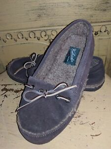 WOOLRICH SUEDE SLIP ON FLATS MOCCASINS SLIPPERS 6 6.5 LADIES BROWN WOOL LINED