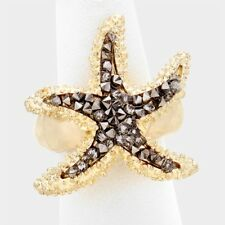 Hot Statement GOLD Black Diamond Crystal Starfish Stretch Ring By Rocks Boutique