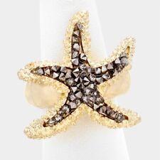 Declaración de oro cristal de diamante negro caliente estiramiento anillo por rocas Boutique estrellas de mar