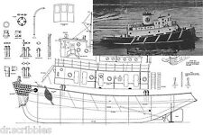 "Model Boat Plan Scale 48"" Radio control Tug Boat Plans & Building notes"