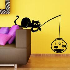 00759 Wall Stickers Adesivi Murali Gatto che pesca 80x58 cm