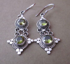 Bali Natural Peridot Long Dangle Earrings/ Handcrafted Sterling Silver Jewellery