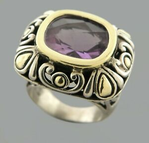 JOHN HARDY 18K GOLD STERLING SILVER AMETHYST LADIES COCKTAIL RING