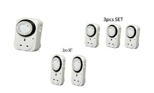 7 Day Mains Plug In Timer Switch Mechanical Electric Socket UK 3 Pin Adapter