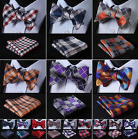 Men's Classic Plaids Bow Tie Self Tie Silk Bowtie Pocket Square Set Wedding  R01