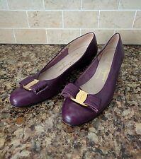 Salvatore FERRAGAMO Purple Leather Vara Kitten Heel Flats Gold Hardware 6 AAA