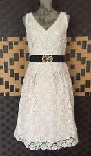 Lady by Yoana Baraschi Ivory Crochet Lace Cotton Fitted V-Neck Dress Women's 10