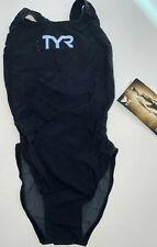 Tyr Women's 28 Black Tracer Light Aeroback Swim Suit One Piece Usa Made Fina New