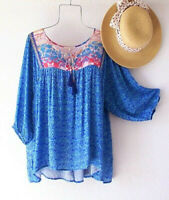 New~Blue Aqua Red Peasant Blouse Patchwork Shirt Flowy Boho Top~Size 12/14 Large