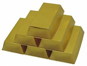 Plastic Gold Bar 6 Pack Thin Party Novely Old West Money Decorations