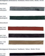 Schrägband/ Einfassband/ Textilband, Veluor/ Samt, Breite: 14 mm und 10 mm