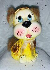 Vintage faux fur Dog Ceramic Coin bank Children Child child's  bank
