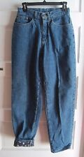 LL Bean Snowflake Flannel Lined Denim Blue Jeans Womens size 6R Winter Insulated