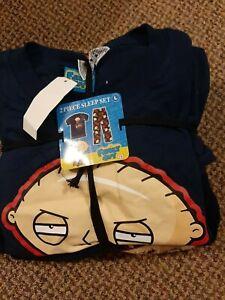Family Guy mens large fleece and Jersey pajamas short sleeve shirt NWT