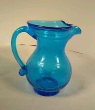 Small Antique Blue Blown Crackle Glass pitcher/creamer MCM