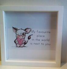 Cute cow love you quote wedding gift box frame picture glitter pink valentines