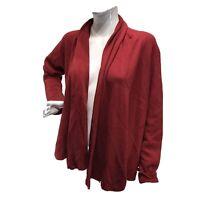 Eileen Fisher Silk Blend Shawl Waterfall Collar Cardigan Sz L Large Rust Red