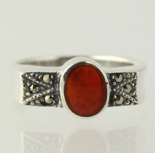 Carnelian Ring - Sterling Silver Women's Marcasites Fashion Deep Orange Fine