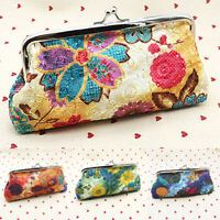 Womens Vintage Floral Clutch Purse Long Wallet Change Coin Card Holder Handbags