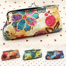 Floral Clutch Purse Long Wallet Change Coin Card Holder Ladies Kiss Lock Handbag