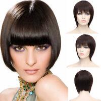 Bob Straight Full Wig 8A 100 Real Brazilian Human Hair Wigs Dark Brown Lj023