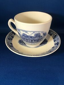 Old English Staffordshire Ware Blue White Cup Saucer Monticello Thomas Jefferson