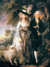 Oil painting thomas gainsborough - William Haleite young couple & dog landscape