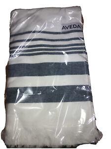 New Aveda Hammam White Navy Large Beach Towel Organic Cotton Blue Stripes