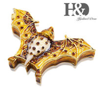 Hinged Metal Trinket Box Ring Holder Bejeweled Flying Bat Figurine Collectibles