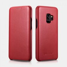Samsung S9 Plus Etui en cuir véritable Curved Edge Série Luxury Rouge