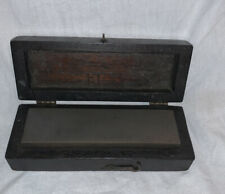 "VINTAGE KNIFE SHARPENING STONE WITH WOOD BOX CASE  (6"" X 2"")"