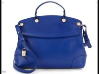 Furla Piper Nikole Small CARTELLA Blue Laguna Saffiano Leather Bag MSRP $448