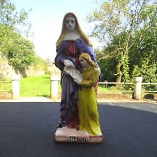gran figura estatua en cerámica de quimper saint Anne haciendo lira un niño