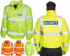 SECURITY Hi Vis Bomber Jacket Workwear Bodyguard Bouncer Reflective Hi Vis Coat