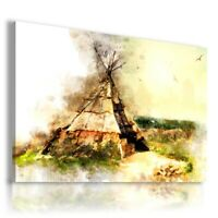 PAINTING DRAWING WIGWAM INDIAN PRINT Canvas Wall Art R148 UNFRAMED