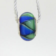 PERSONA STERLING SILVER ITALIAN GLASS BOLD BLUE AZTEC CHARM   NEW WITH TAG