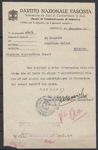 Italy / Croatia 1942 WWII. Invitation ☀ ZARA / SEBENICO National Fascist Party