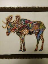 Moose Animal Spirits Fabric Panel by Sue Coccia 14.5 x 11.5 inches