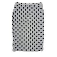 MOA USA White Black Polka Dot Stretch Waist Skirt Womens Size L Large