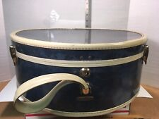 SAMSONITE HAT BOX LUGGAGE STYLE 4720 Dark Blue White Trim w/ Strap No Key EUC