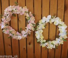 Artificial Silk Flowers Pink or White Orchid Round Wreath Home Wedding Event