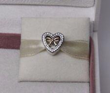 New w/Hinge Box Pandora Bound By Love Heart w/ Gold Bow Charm 791875CZ Valentine