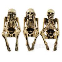 THREE WISE SKELETON FIGURINES ORNAMENT SEE NO SPEAK NO HEAR NO EVIL 10CM