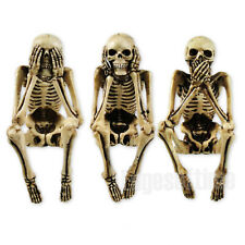 THREE WISE SKELETON FIGURINES ORNAMENT SEE NO SPEAK NO HEAR NO EVIL 10CM