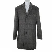 H&M Coat Wool Blend Plaid Gray Black Men's Size 36R