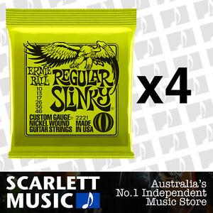 4x Ernie Ball Regular Slinky 10-46 Electric Guitar Strings *SET OF 4 PACKS*