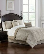 Waterford Landon Paisley Taupe 5P Queen Comforter Shams Bedskirt Set