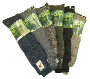 Mens 3 Pairs Welly Boot Socks Long Wellington Wool Mix Gardening Size UK 6-11