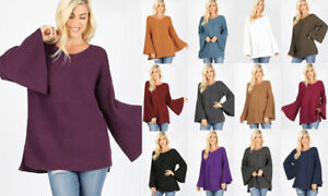 Women's Solid Colors Sweater Bell Sleeve Long Tunic Oversize Soft Knit Pullover