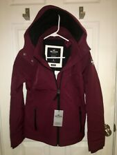 NWT Hollister Women All Weather Collection Fleece Lined Jacket Burgundy  S